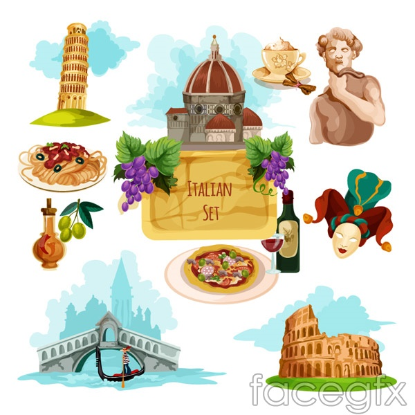Italy travel elements vector
