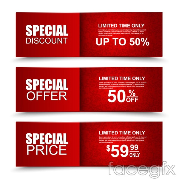 Red promotional BANNER vector
