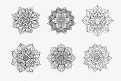 9 hand-painted pattern vector