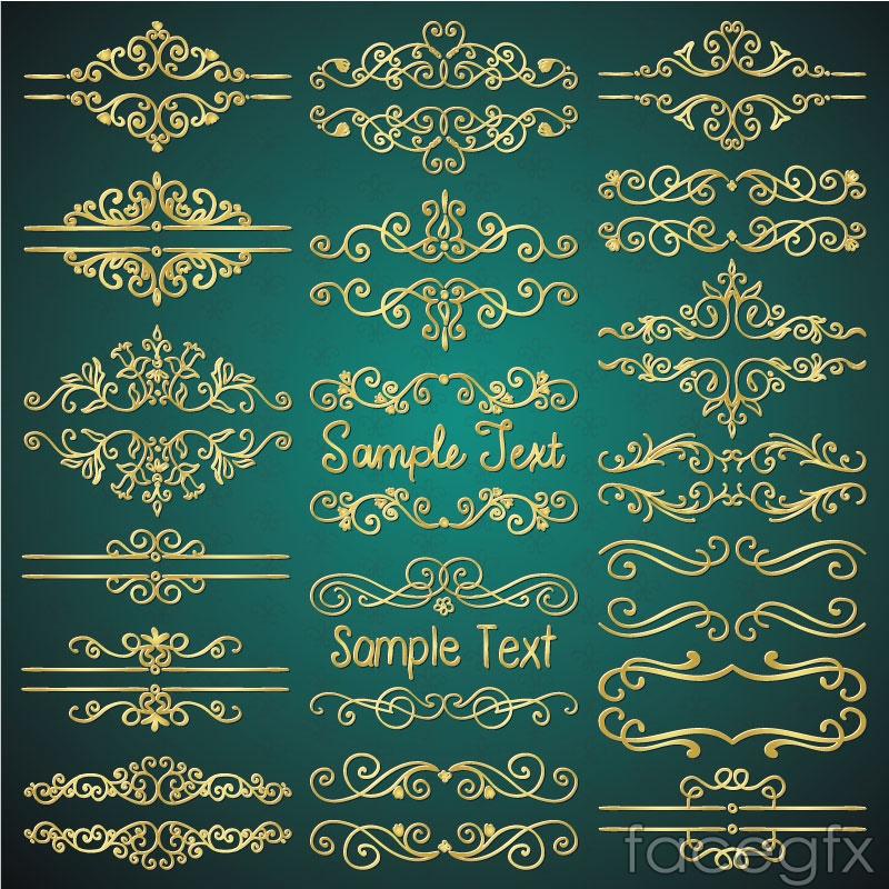 18 gold decorative borders vector