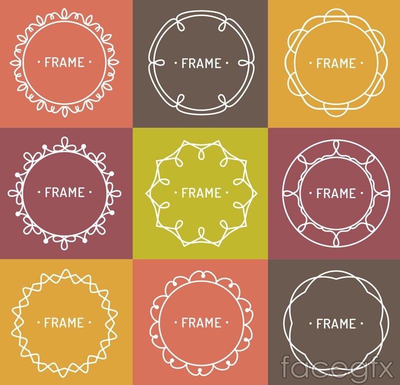 9 color pattern frame vector