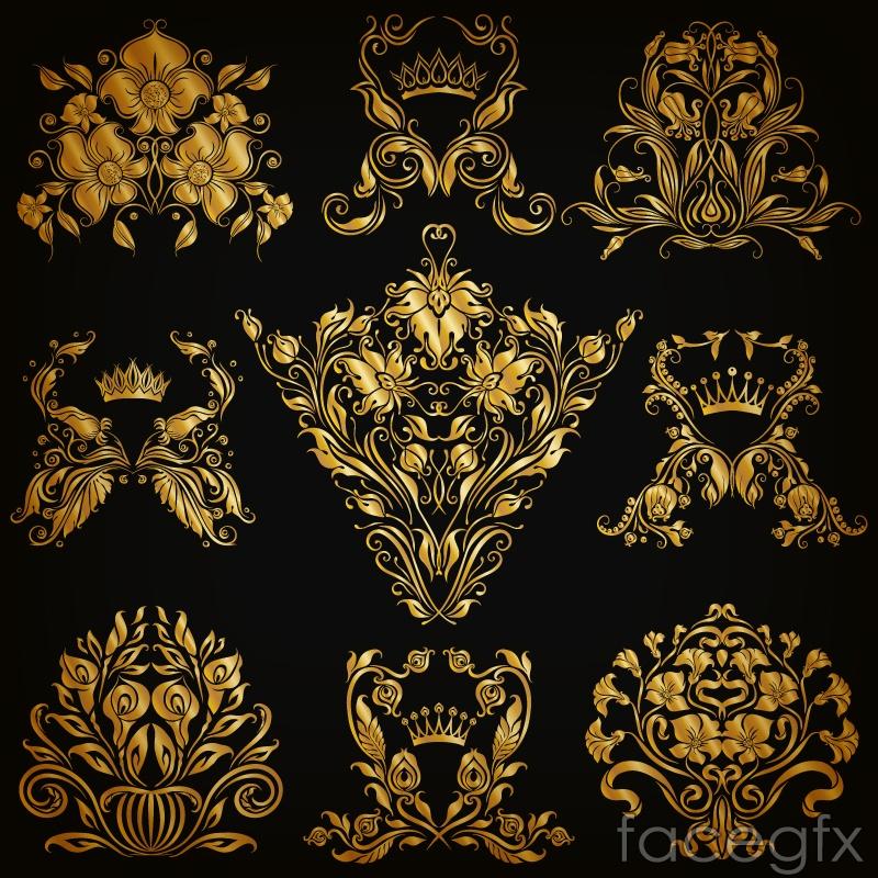 9 gold pattern design vector