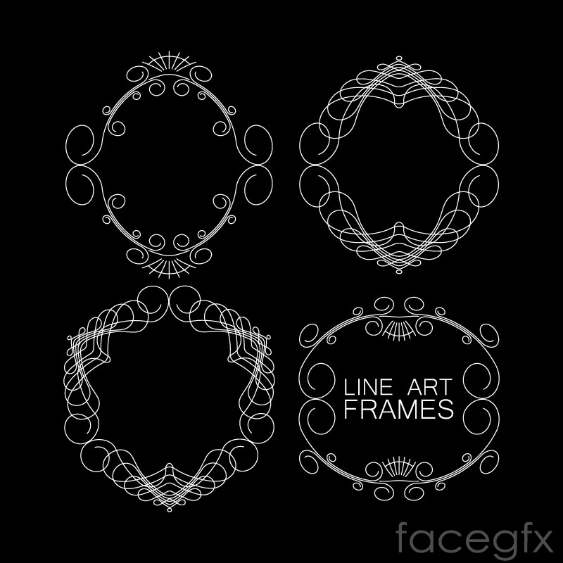 4 thin patterned frame vector