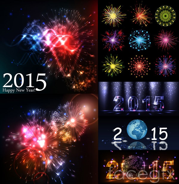 Colorful fireworks display effect vector
