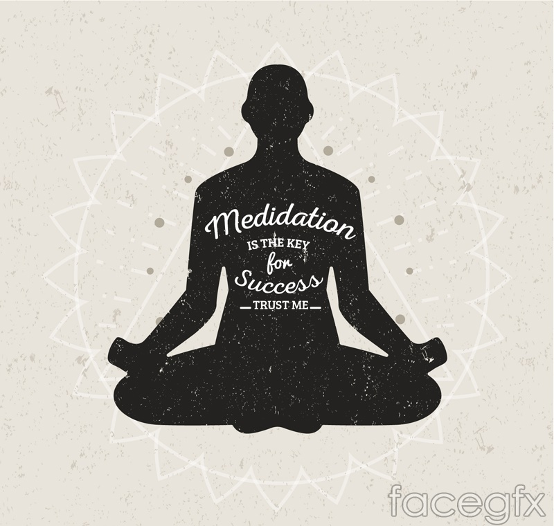 Meditation of female silhouettes vector