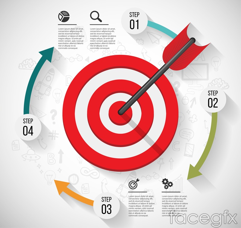 Red target business information maps vector