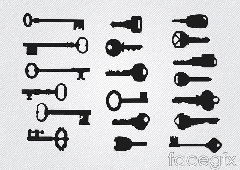 19 practical keys silhouettes vector