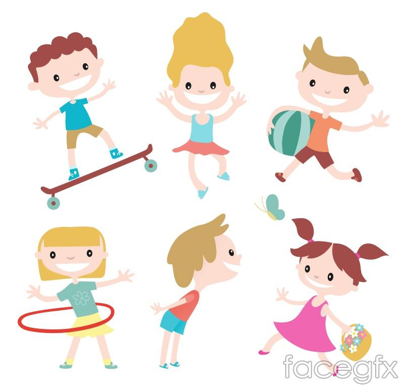 6 children cartoon vector