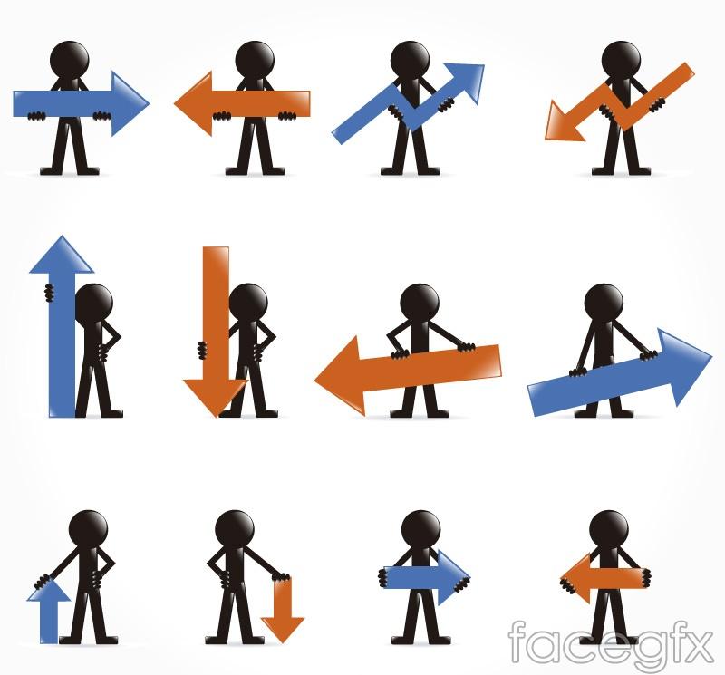 12 small black vector arrow diagram