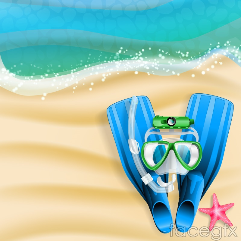 Diving equipment on the beach vector
