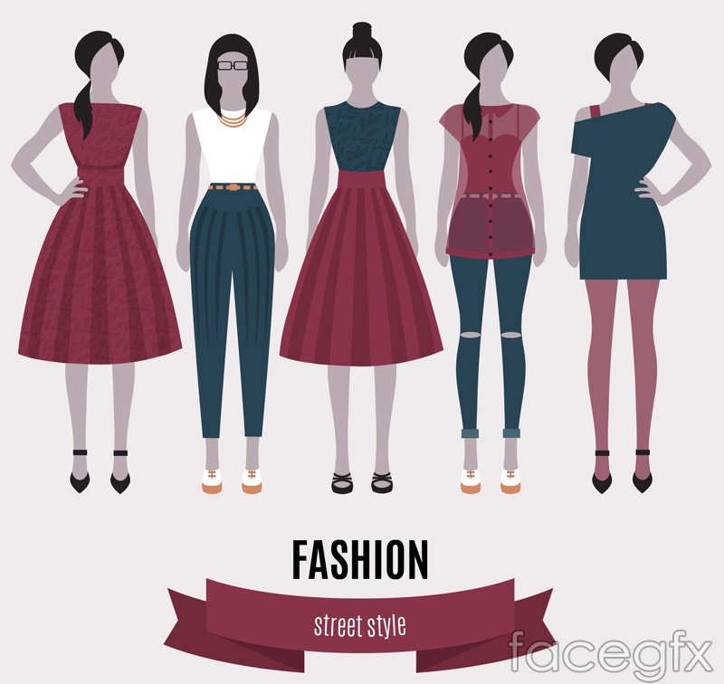 5 Street style fashion girl vectors