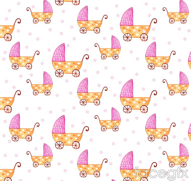 Cartoon baby carriage seamless vector background illustration