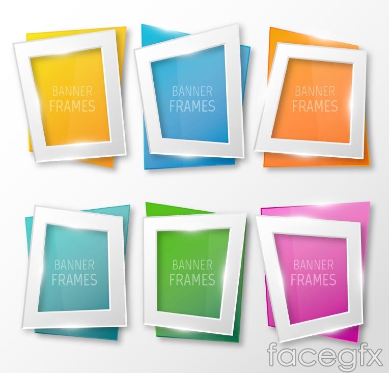 6 gloss trapezoidal banner vector diagrams