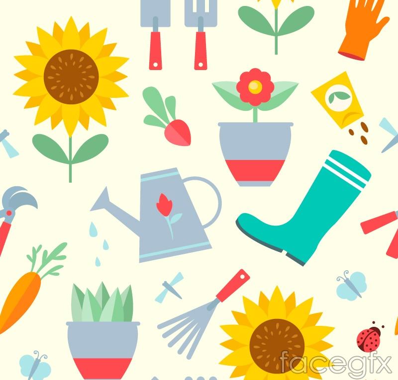 Cartoon garden tools, seamless vector background