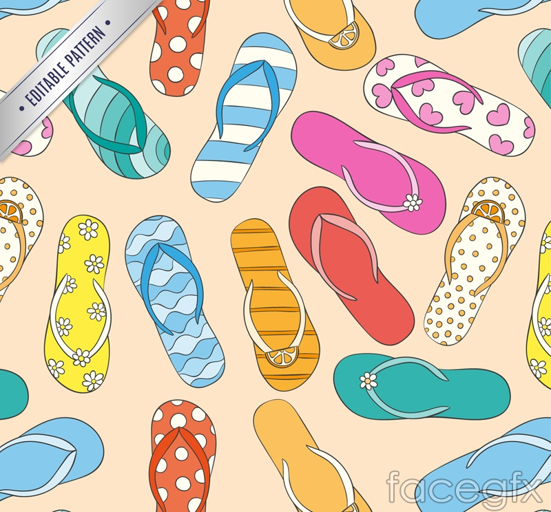 Color slippers vector seamless background image
