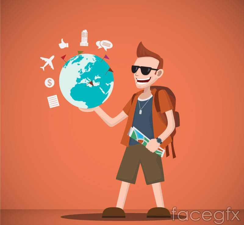 One-handed lifts the Earth traveling man vector graphics