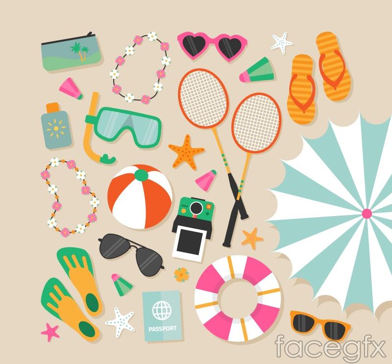 Variety of summer beach vacation element vector