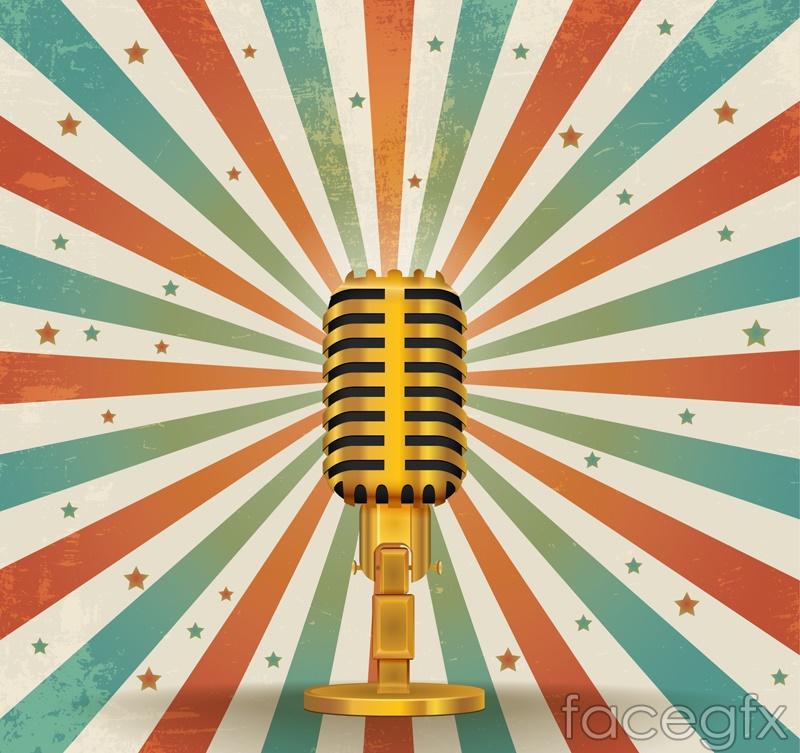Vintage Golden microphone vector