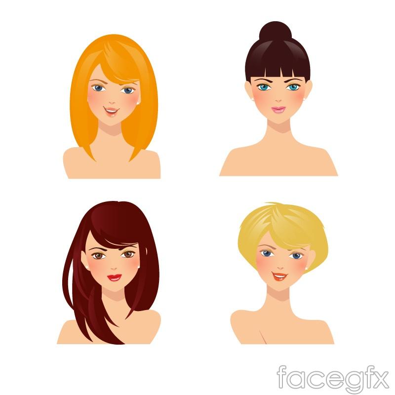 4 beautiful women avatars vector diagrams