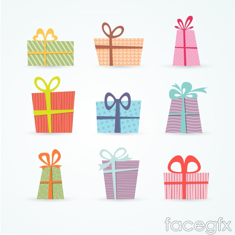 9 fine color gift box vector