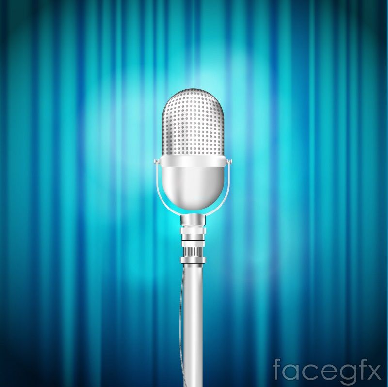 Beautiful blue silver microphone stage vector diagrams