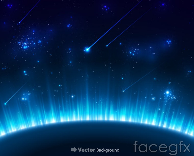 Blue planet in the universe background vector