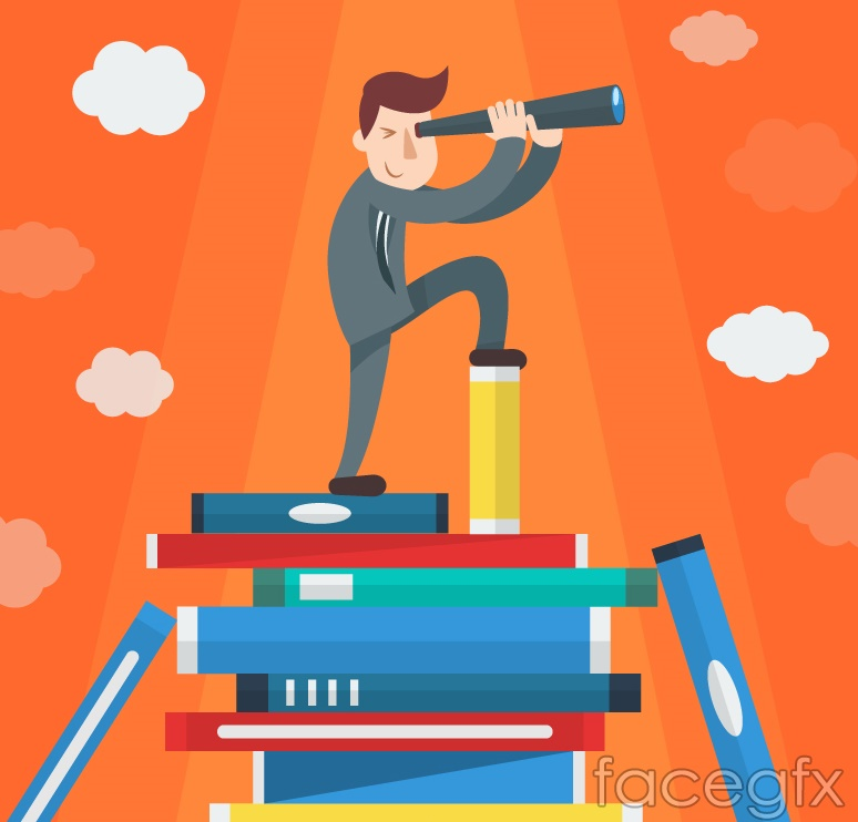 Business man standing on the books vector graphics