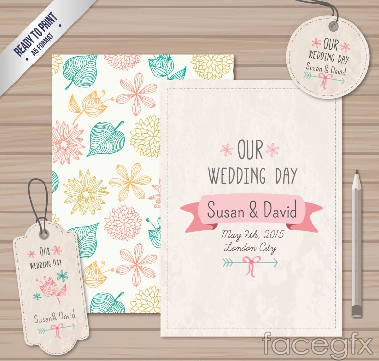 Painting flowers wedding invitation card vector