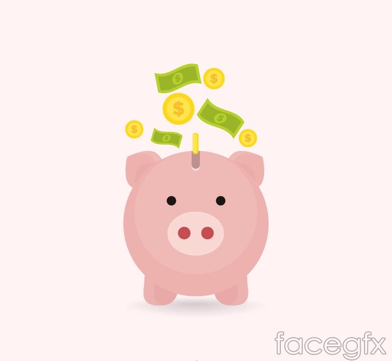 Pink piggy piggy vector