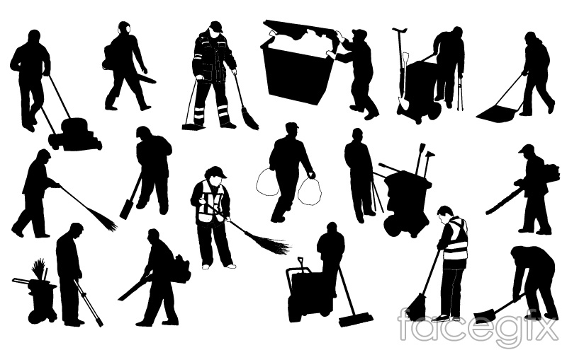 17 sanitation workers silhouettes vector