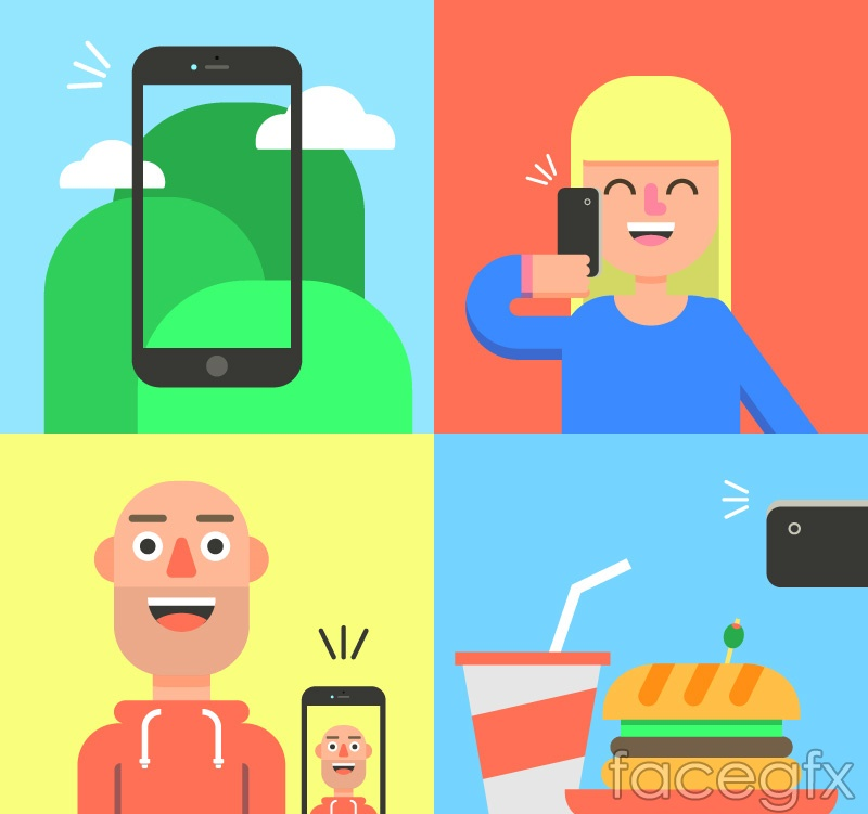 4 cell phone photography vector illustration