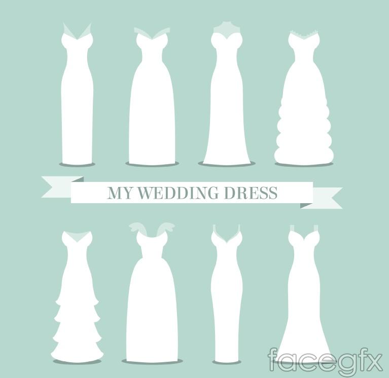 8 white wedding dress design vector