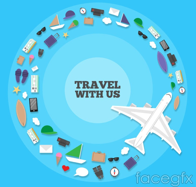 Creative travel ring from the elements vector