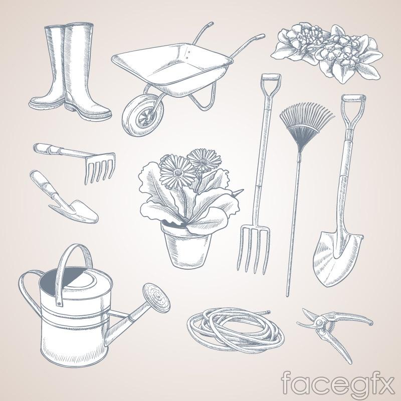 12 hand-painted garden tool vector