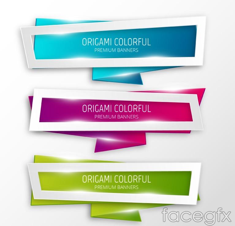 3 color rectangular banner vector diagrams