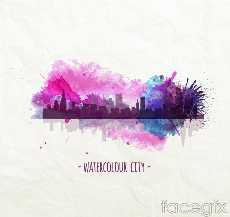 Creative Watercolour city vector