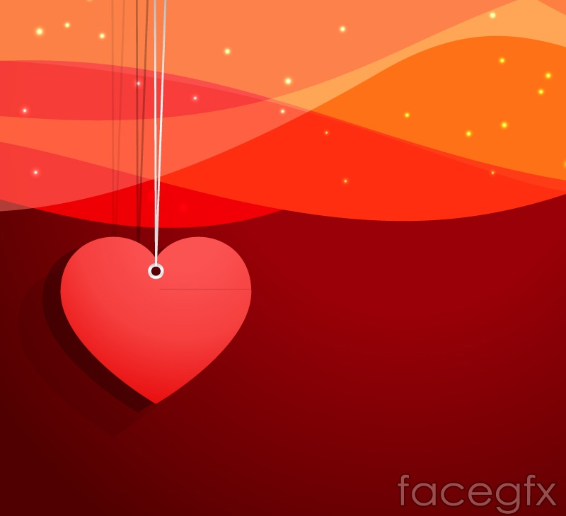 Red heart ornament vector background
