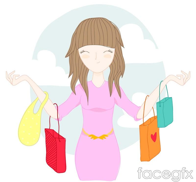 Smiling shop girls vector
