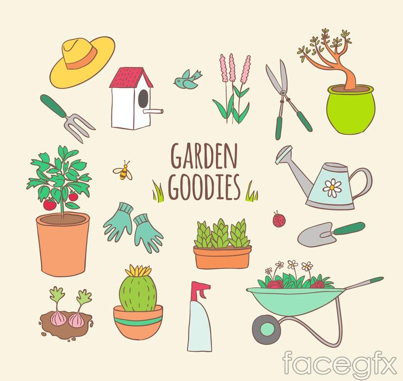 16 painted garden element vector