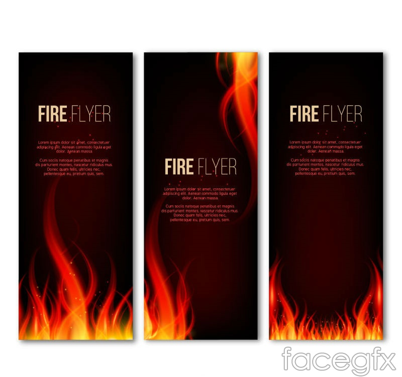 3 flame-decorated banner vectors