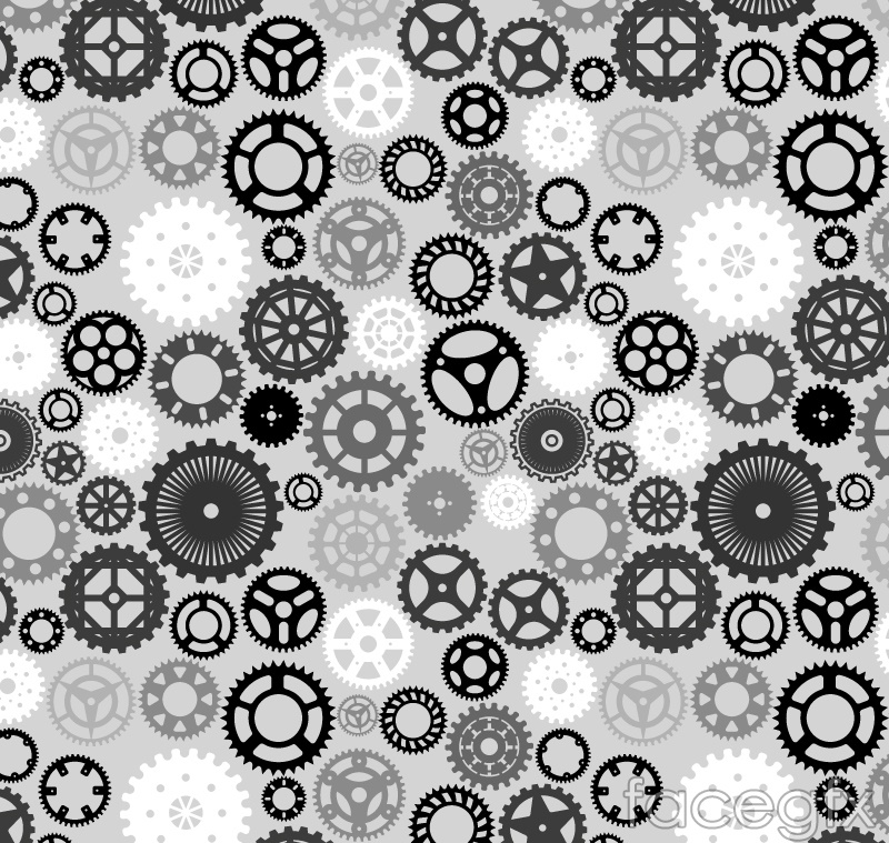 Black gear seamless vector background