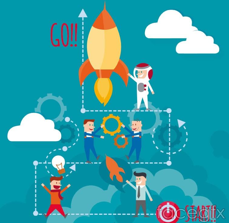 Rockets and astronauts vector illustration