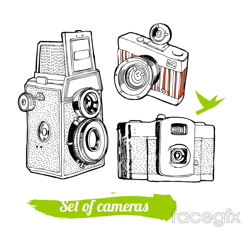 3 hand-painted exquisite camera vector