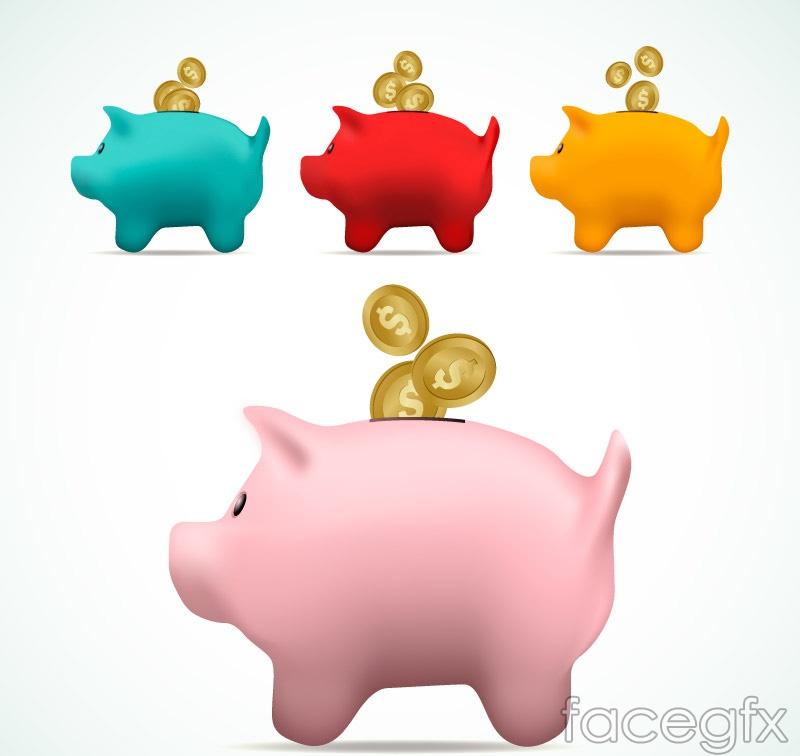 4 color pig piggy vector diagrams