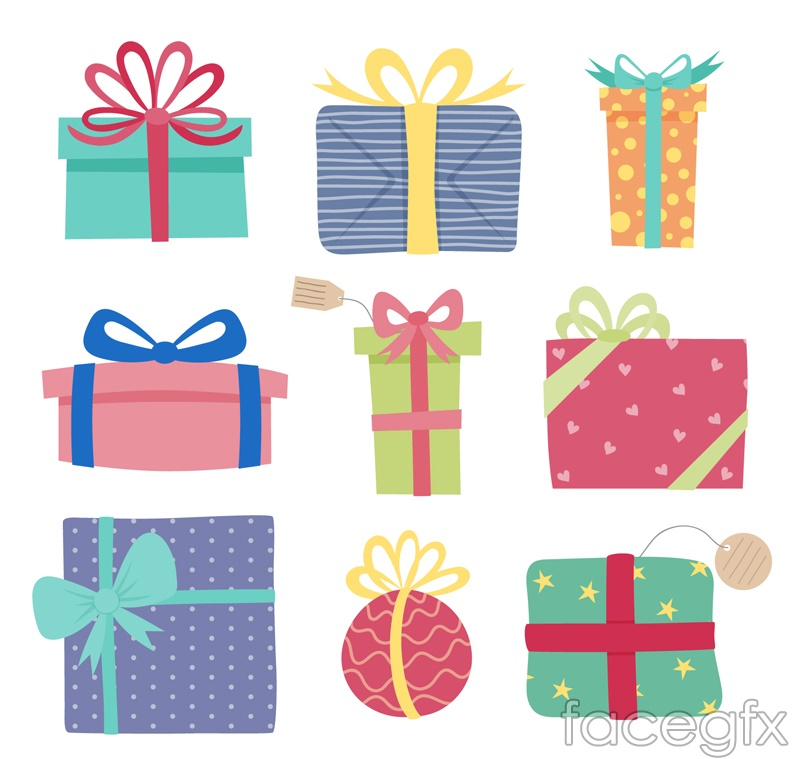 9 color gift box vector