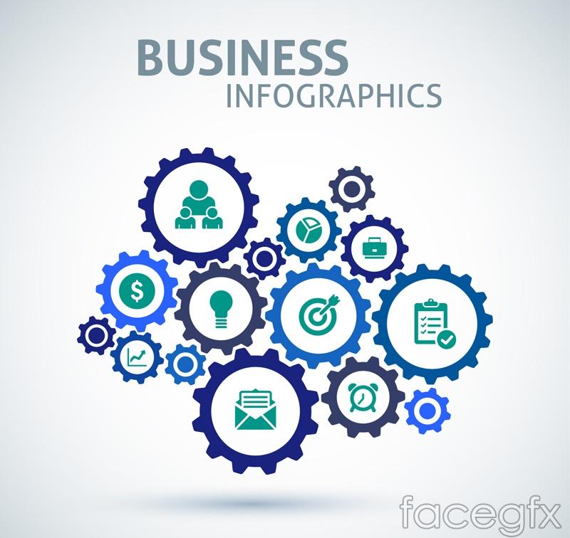 Business gear set design vector graph