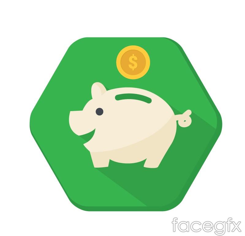 Hexagon piggy icons vector