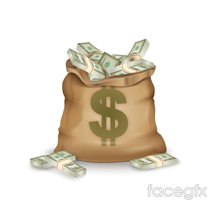 Money bag marked with a dollar sign vector