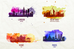 4 watercolor design vector graph