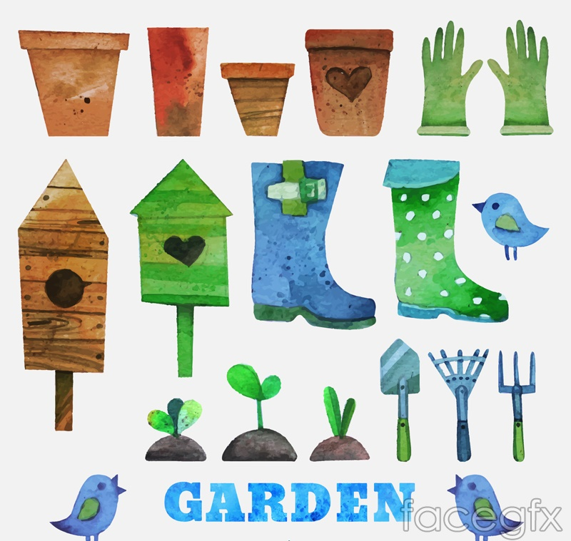 19 watercolors garden tool vector diagrams